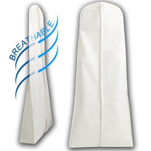 Hangerworld - Housse de Protection pour Robes de Mariée ou de Soirée - 182 x 66 cm - Blanc