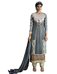Incomparable Net & Semi Georgette & Jacquard Grey Churidar Semi Stitched Festival Suit