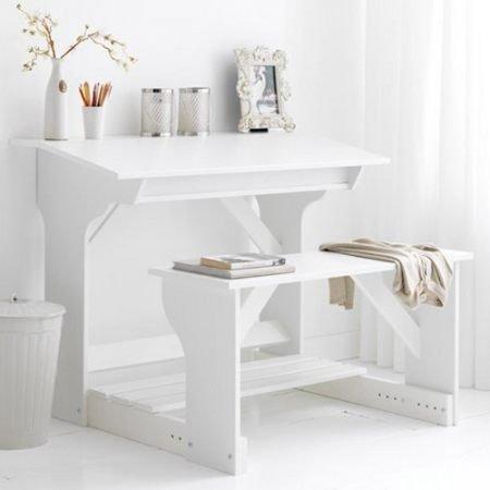 Kinderschreibtisch Schreibtisch mit Sitzbank DREAMS, massive Kiefer, weiß kaufen