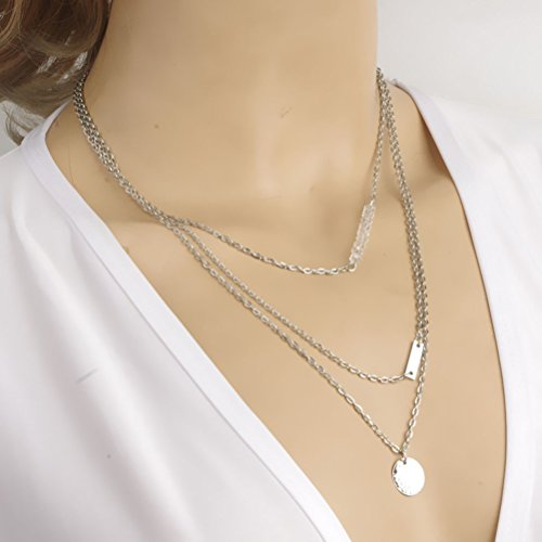 Fashion Alloy Silver Tone Beads Short Multilayer Necklace Birthday Wedding Valentine'S Gift