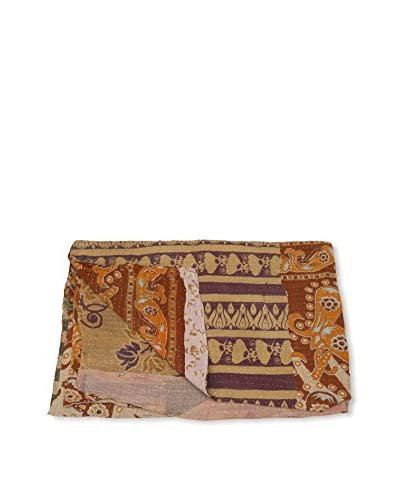 Kantha Bengali Printed Quilted Throw, Multi