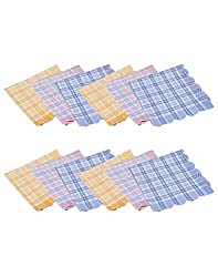 Gumber Pack of 12 Multicolored Checkered Handkerchiefs (GE_KTEX_CHECK_12PC)