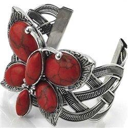 Vintage interlock cuff bangle red stone butterfly