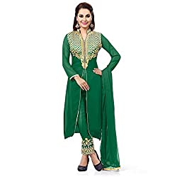 ZHot Fashion Women's Embroidered Un-stitched Dress Material In Georgette Fabric (ZHMS1002) Green