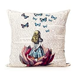 Buythecase Unique Fashion Design One side print Satin fabric Alice In Wonderland Throw Pillow Cover(size 45 CM X 45 CM)