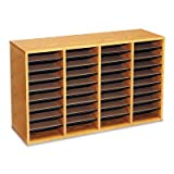 Safco Wood Adjustable Compartment Literature Organizer, 36 Compartments, 39.25 Inches Width x 16.25 Inches Height, Medium Oak (9424MO)