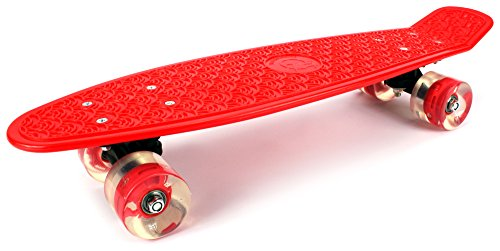 "Boardwalk Cruiser Complete 22"" Inch Banana Skateboard w/ Light Up Wheels, High Quality Bushings, ABEC-5 Bearings (Red)"