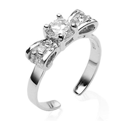 Solid Sterling Silver 925 Bow Design Gemstone Set Toe Ring