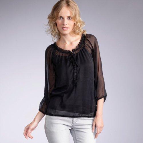 Paisley print voile blouse  three-quarter length
