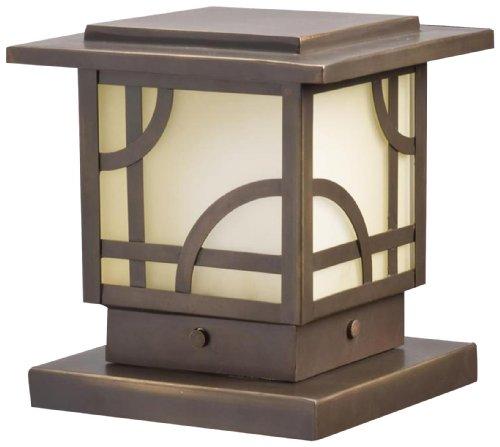 Kichler Lighting 15474OZ Larkin Estate Post Light 12-Volt Deck and Patio Light, Olde Bronze with Umber Etched Glass