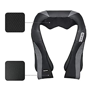 MaxKare Shiatsu Neck Shoulder Massager Electric Back Massage with Heat Deep Kneading Tissue Massage for Muscles Pain Relief Relax in Car Office and Home (Color: Black, Tamaño: Neck Massager)
