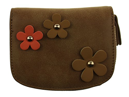 OULINBEIN Women And Girl Man-made Leather Fashion Flower Small Change Wallet Purse