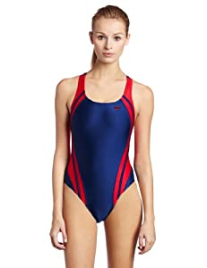 Speedo Women's Race Quantum Splice Superpro Swimsuit, Navy and Red, 38