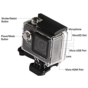 Soyan WIFI SJ4000 Helmet Sports DV 1080P Full HD H.264 12MP Car Recorder Diving Bicycle Action Camera with Large Screen 2.0 Inch Screen,Highly Water Resistant,140°Wide Angle Lens Outdoor Perfect Waterproof G-Senor Motorbike Camcorder DVR (Black)