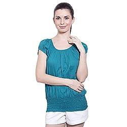 TUNTUK Women's System Blue Top Cotton Top