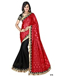 Astha Fashion Beautiful Party Ware Red And Black Emboidery Work Saree - B011OJHBM0
