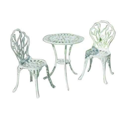 ... Home 55-8663-WH Tulipano Round Bistro Table and Chair Set, White SALE