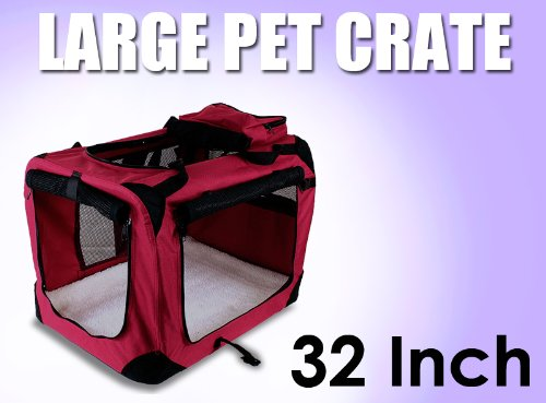 New Large Dog Pet Puppy Portable Foldable Soft Crate Playpen Kennel House - Red front-1052467