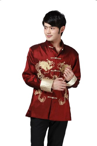 JTC Chinese Style Tai Chi Shirt Kung Fu Tops Silk Tang Suit Men Costume Jacket Coat Outwear Stand-Collar Long Sleeve Dragon Pattern 3Colors (Size-XXL, Red)
