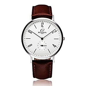 BESSERON Mens White Dial Watch with Cowhide Leather Father's Gift