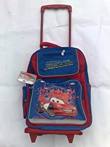 Childrens Lightning McQueen Trolley Bag, Suitcase on Wheels, Rucksack, Luggage for Kids, Sleepover Bag, Disney Cars by Disney Pixar