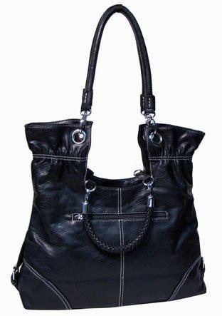 Fold-over Braided Handbag (Navy-old)