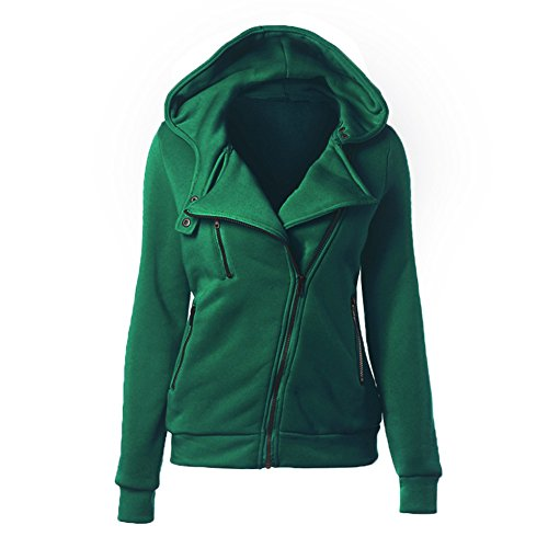 Autunno Donne New European casuale Sport Pure Color manica lunga con cappuccio obliqui della chiusura lampo cappuccio Felpe Top