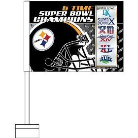 Rico Pittsburgh Steelers 6X Super Bowl Champions Car Flag - Pittsburgh Steelers One Size