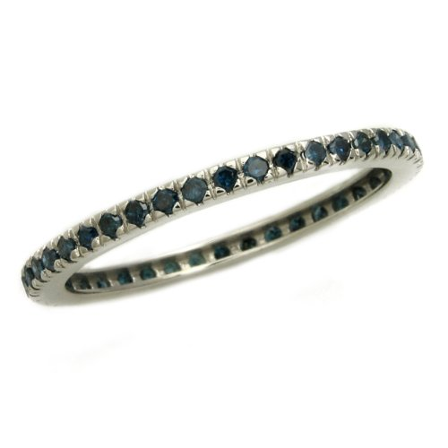 10K White Gold 0.33 Carat Genuine Blue Diamonds Eternity Anniversary Wedding Stackable Band Ring Size 8 (Color Blue, Clarity SI2-I1)