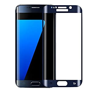 ALCLAP S7 Edge Tempered Glass Premium Color Screen Protector Full Coverage Protection High Definition HD 3D Curved Film Ultra Clear for Samsung Galaxy S7 Edge (Blue,NOT FOR S7) by ALCLAP