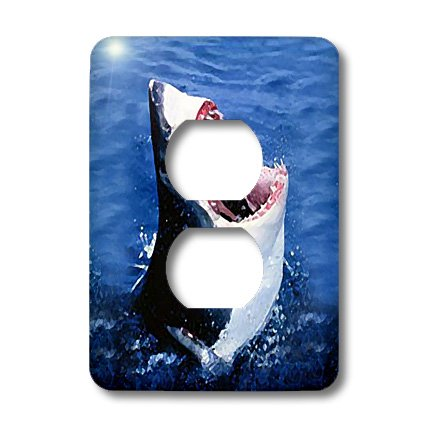 lsp_603_6 Sharks - Great White Shark - Light Switch Covers - 2 plug outlet cover (Shark Light Switch compare prices)