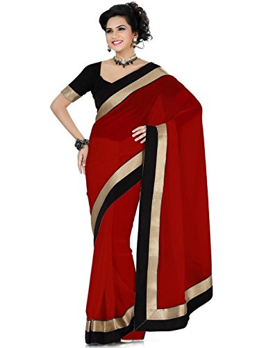 Shree Fashion Hub Maroon Chiffon Saree With Blouse Piece  available at amazon for Rs.249