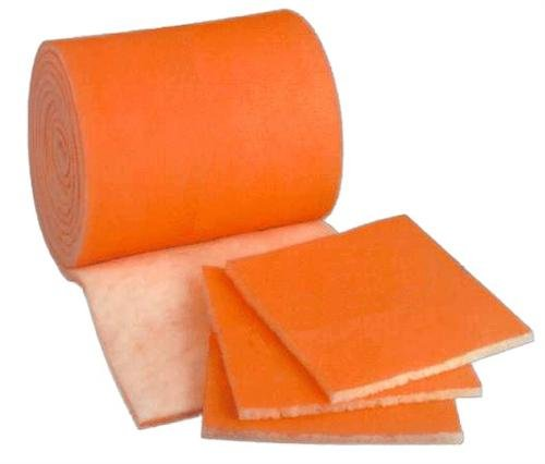 "HVAC / Air Filter Media Roll , Orange / White MERV8 Polyester Media with a Heavy Dry Tackifier - 1"" x 25"" x 6'"