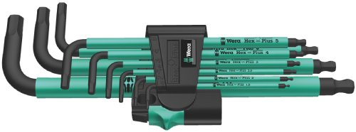 Wera Hex Plus 950 SPKL/9 Ergonomic Metric Hex Key Set with Two-Component Storage Clip, 9-Piece