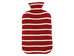 Pluchi Strepen Red & Natural Knitted Hot Water Bottle Cover