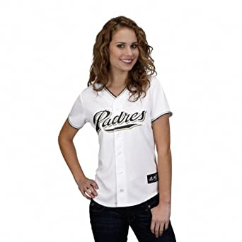 MLB San Diego Padres Ladies Short Sleeve 5 Button Synthetic Replica Jersey by Majestic