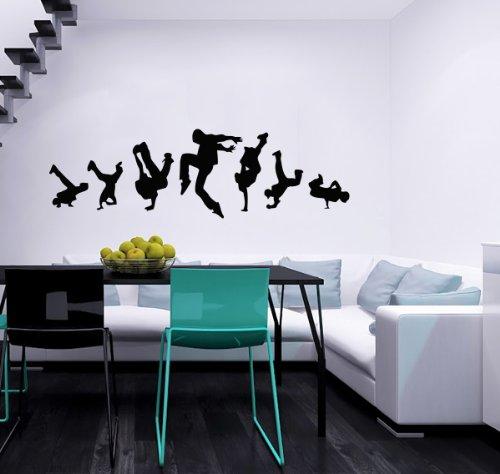 Guys Dancing Break Dance Wall Vinyl Decals Sticker Home Interior Decor for Any Room Housewares Mural Design Graphic Bedroom Music Dance Studio Wall Decal (5504)