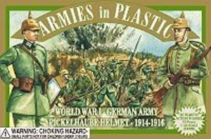 Armies in Plastic WWI German with Pickelhaube Helmet Offered By Classic Toy Soldiers, Inc