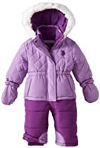 U.S. Polo Association Baby-Girls Infant Diamond Quilted Bubble Snowsuit, Medium Purple/Stark Purple, 18 Months