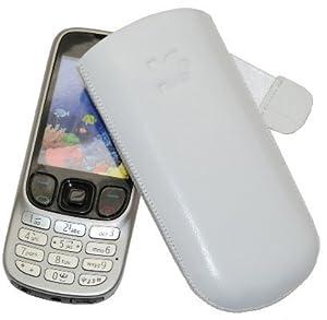 Original Suncase Echt Ledertasche (Lasche mit Rückzugfunktion) für Nokia 6303i Classic 6303 in weiß