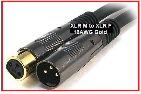Ptc Premier Gold High Grade Series Xlr Male To Xlr Female 16Awg - Gold Plated - 6 Ft Microphone + Interconnect Cable