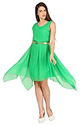 Pretty Angel Woman's Polygeorgette Dresses (Medium, Green)