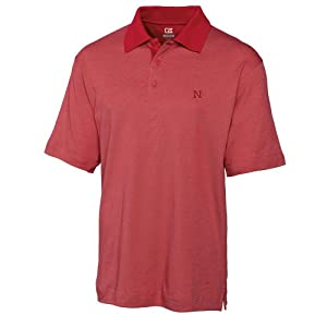 NCAA Mens Nebraska Cornhuskers Cardinal Red Drytec Resolute Polo Tee by Cutter & Buck