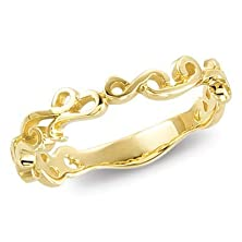buy 14K Yellow Gold Freeform Scroll Wedding Band - 8