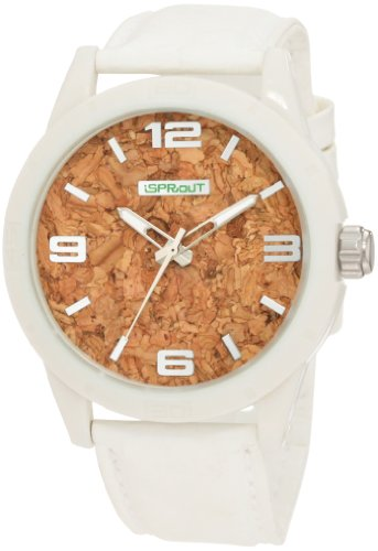 Sprout Men's ST/3401WTWTWT Cork Dial White Tyvek Strap Eco-Friendly Watch