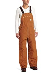 Carhartt Men\'s Quilt Lined Duck Bib Overalls R02,Brown,34 x 32