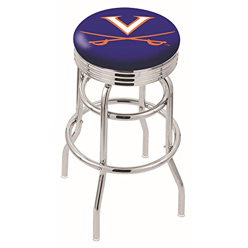 """25"""" L7C3C - Chrome Double Ring Virginia Swivel Bar Stool with 2.5"""" Ribbed Accent Ring by Holland Bar Stool Company"""