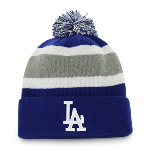 Mlb Los Angeles Dodgers '47 Brand Breakaway Cuff Knit Hat With Pom, Royal, One Size