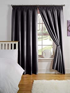 Simply Style Black Thermal Backed Readymade Curtain Pair 46x72in(116x182cm)
