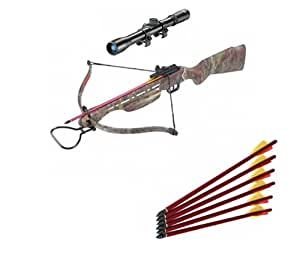 150LB Camouflage Hunting Crossbow Wooden Handle + 4X20 Scope + 7 Bolts/Arrows